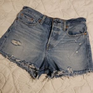 Levi's Wedgie Fit Distressed Cutoff Shorts